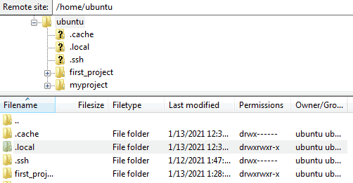 Figure 11 - Connect to EC2 File Directory using Filezilla.